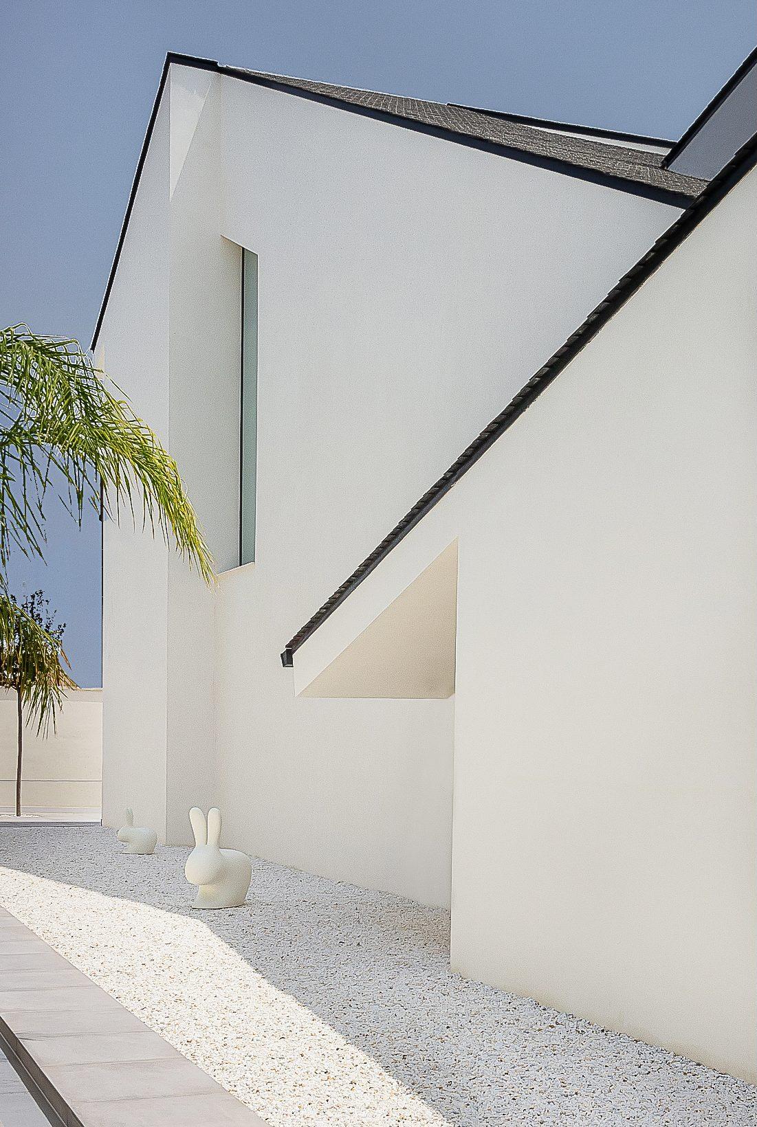 Casa moderna y minimalista con tejado negro inclinado y jardin de piedras