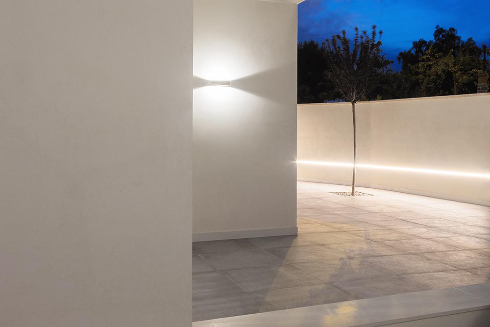 Entrada casa minimalista con arbol.
