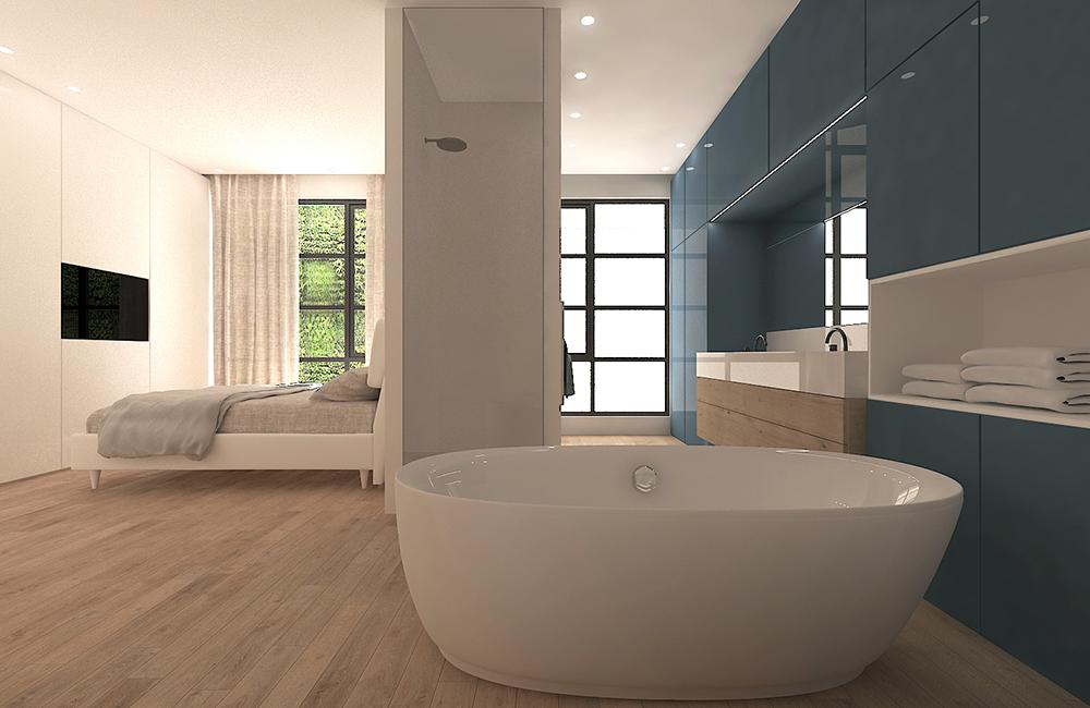 Baño azul en dormitorio con bañera exenta de estilo moderno